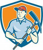 Construction Worker Holding Pickaxe Shield Cartoon