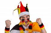 stock photo of exaltation  - Exalted german soccer fan  - JPG