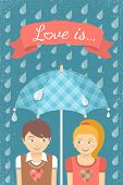 Boy and girl in love under checkered umbrella in the rain