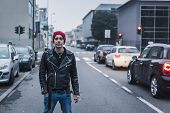 Punk Guy Posing In The City Streets