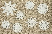 Jute Yarn Knitted Fabric With Snowflakes