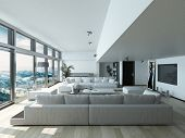 Modern Living Room Design with Elegant Couches Inside Architectural House with Glass Window Style. 3D Rendering.