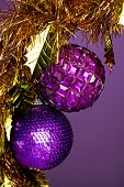 Christmas decoration on violet background