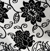 Pattern Of An Ornate Black And White Floral Tapestry