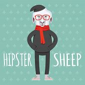 Cartooned Hipster Sheep Graphic Design