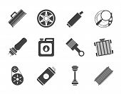 Silhouette Realistic Car Parts and Services icons