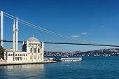 Mosque And The Bridge On The Bosphorus Strait