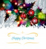 Christmas greeting card against digital hanging christmas bauble decoration