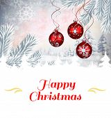 Composite image of christmas card against digital hanging christmas bauble decoration