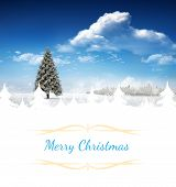 Christmas greeting card against fir tree in snowy landscape