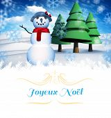 Christmas greeting card against snow man