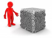 cube maze and man (clipping path included)