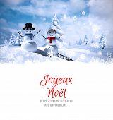 Joyeux noel against snowman family