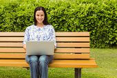 Cheerful brunette sitting on bench using laptop in the park