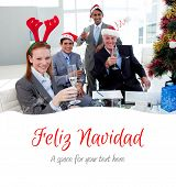 Business team toasting with Champagne at a Christmas party against feliz navidad