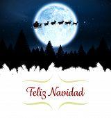 border against santa flying over night sky