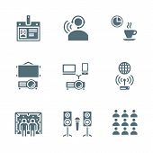 solid grey color conference concept icons