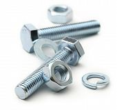 picture of bolt  - Screw bolts and nuts on white background - JPG