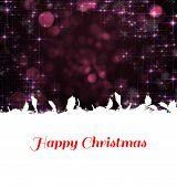 Happy Christmas against shimmering light design on black