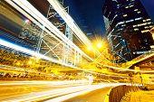 traffic in city at night, hong kong downtown