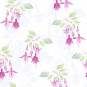 Fuchsia Flowers Seamless Floral Pattern On White Background