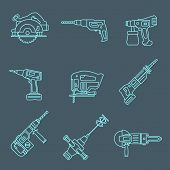 light outline house remodel power tools icons