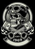 picture of skull cross bones  - fully editable vector illustration of vintage biker skull with crossed piston emblem isolated on black background - JPG