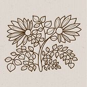 Flower Elements On A Striped Background.