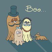 Cute spooky Family. Cartoon ghosts.