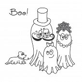 Lovely ghosts family. Drawing ideal for coloring books.