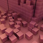 Damaged assembling of blocks. 3d render image