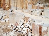 picture of stepping stones  - stone blocks and steps after extracting in quarry - JPG