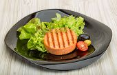 image of crab-cakes  - Grilled Fish cakes in the bowl with salad leaves - JPG
