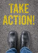 Text on the floor - Take action