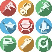 picture of skid-steer  - Set of colored circle flat vector icons for construction with white silhouette tools and equipment with long shadow on white background - JPG