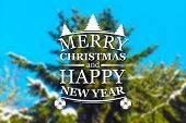stock photo of blue spruce  - Merry Christmas and New Year greeting card on blurred spruce or fir - JPG