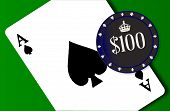 image of ace spades  - The ace of spades and a poker chip coin on a green background - JPG