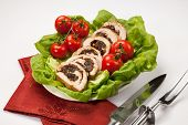 pic of butter-lettuce  - Delicious turkey breast roulade cut in slices stuffed with prunes and almond - JPG