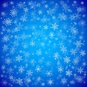 Blue Christmas background with different snowflakes