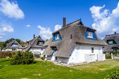 Typical Village House With Reed Roof In Usedom