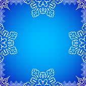 Christmas frame with snowflakes on the edges