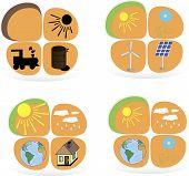 Set of flat design concepts - green energy. Solar panels, windmill, battery, light bulb