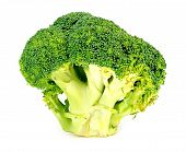stock photo of cruciferous  - Thick juicy organic green broccoli head sliced on white - JPG