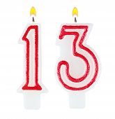 Birthday Candles Number Thirteen Isolated