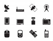 Silhouette technology and Communications icons