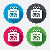 Happy new year gift sign icon. Present symbol.