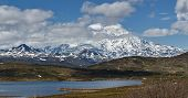 Panorama: The Nature Of Kamchatka: View Of Volcano And Mountain Lake