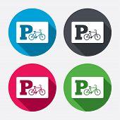 Parking sign icon. Bicycle parking symbol.