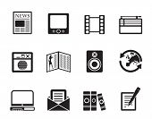Silhouette Media and information icons