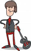 Rock Man With Guitar Cartoon